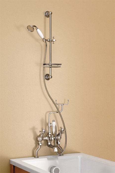 Burlington Anglesey Angled Bath Shower Mixer with Slide Rail & Soap Basket - H230-AN Large Image