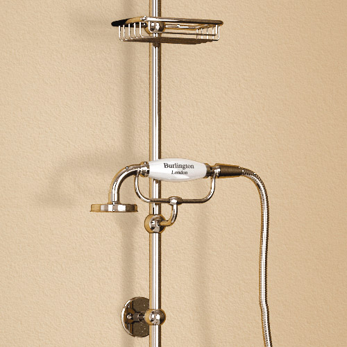 "Burlington Birkenhead Wall Mounted Angled Bath Shower Mixer w Riser, 9"" Rose & Soap Basket Profile Large Image"