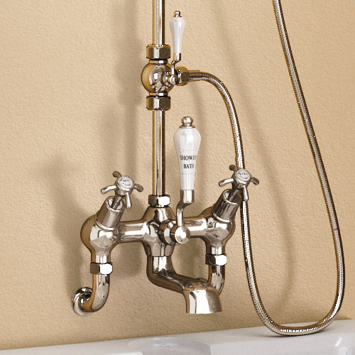 "Burlington Birkenhead Wall Mounted Angled Bath Shower Mixer w Riser, 9"" Rose & Soap Basket Feature Large Image"