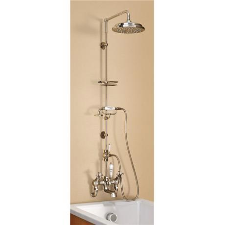 "Burlington Birkenhead Wall Mounted Angled Bath Shower Mixer w Riser, 9"" Rose & Soap Basket"