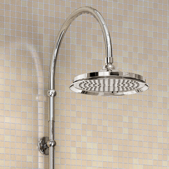 "Burlington Claremont Angled Bath Shower Mixer w Riser, Curved Arm, 9"" Rose & Handset Profile Large Image"