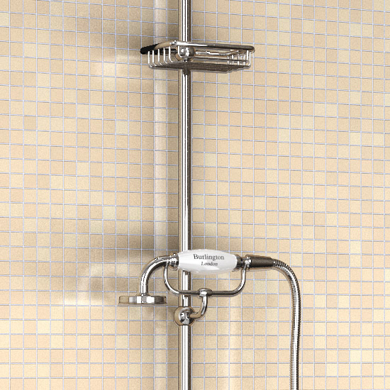 "Burlington Claremont Angled Bath Shower Mixer w Riser, Curved Arm, 9"" Rose & Handset Feature Large Image"