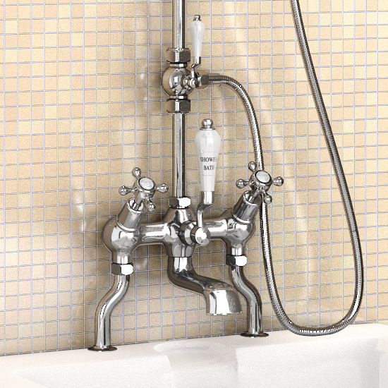 "Burlington Claremont Angled Bath Shower Mixer w Riser, Curved Arm, 9"" Rose & Handset Standard Large Image"