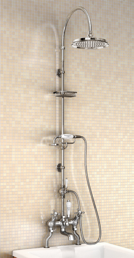 "Burlington Claremont Angled Bath Shower Mixer w Riser, Curved Arm, 9"" Rose & Handset Large Image"