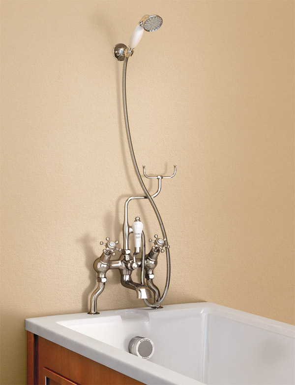 Burlington Anglesey Angled Bath Shower Mixer with Shower Hook - H228-AN