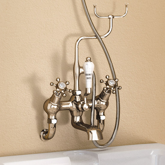 Burlington Claremont Angled Wall Mounted Bath Shower Mixer with Shower Hook - H335-CL profile large image view 2