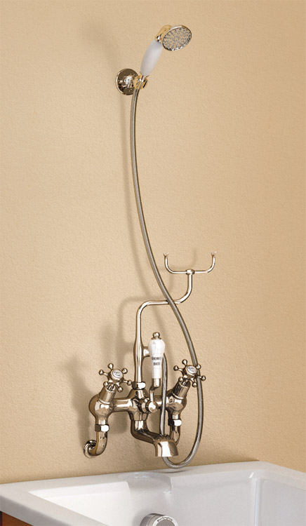 Burlington Claremont Angled Wall Mounted Bath Shower Mixer with Shower Hook - H335-CL Large Image