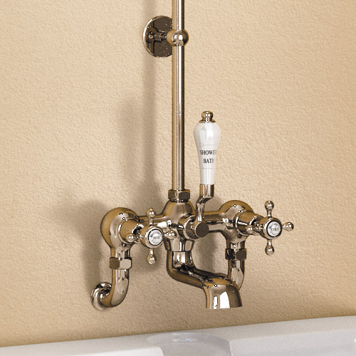 "Burlington Claremont Wall Mounted Bath Shower Mixer w Rigid Riser, Straight Arm & 6"" Rose Profile Large Image"