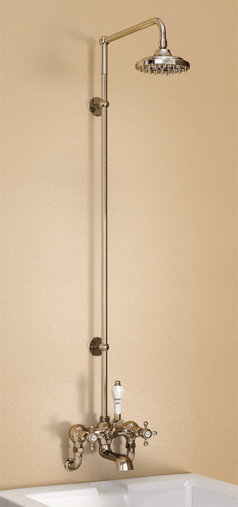 "Burlington Claremont Wall Mounted Bath Shower Mixer w Rigid Riser, Straight Arm & 6"" Rose Large Image"