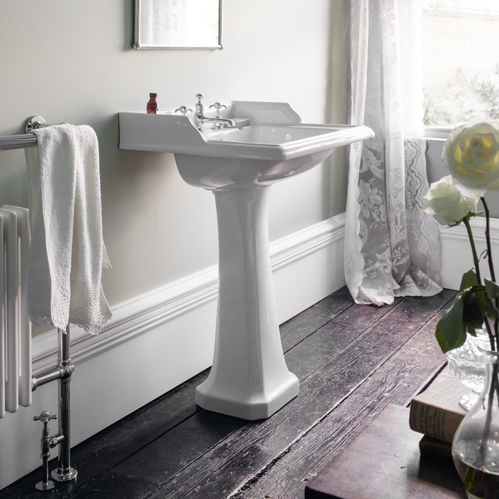 Burlington Classic Square 65cm Basin with Pedestal - Various Tap Hole Options profile large image view 2