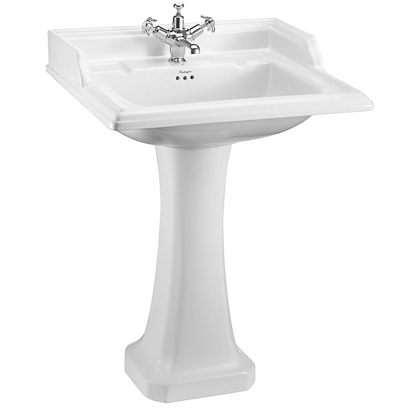 Burlington Classic Square 65cm Basin with Pedestal - Various Tap Hole Options Large Image