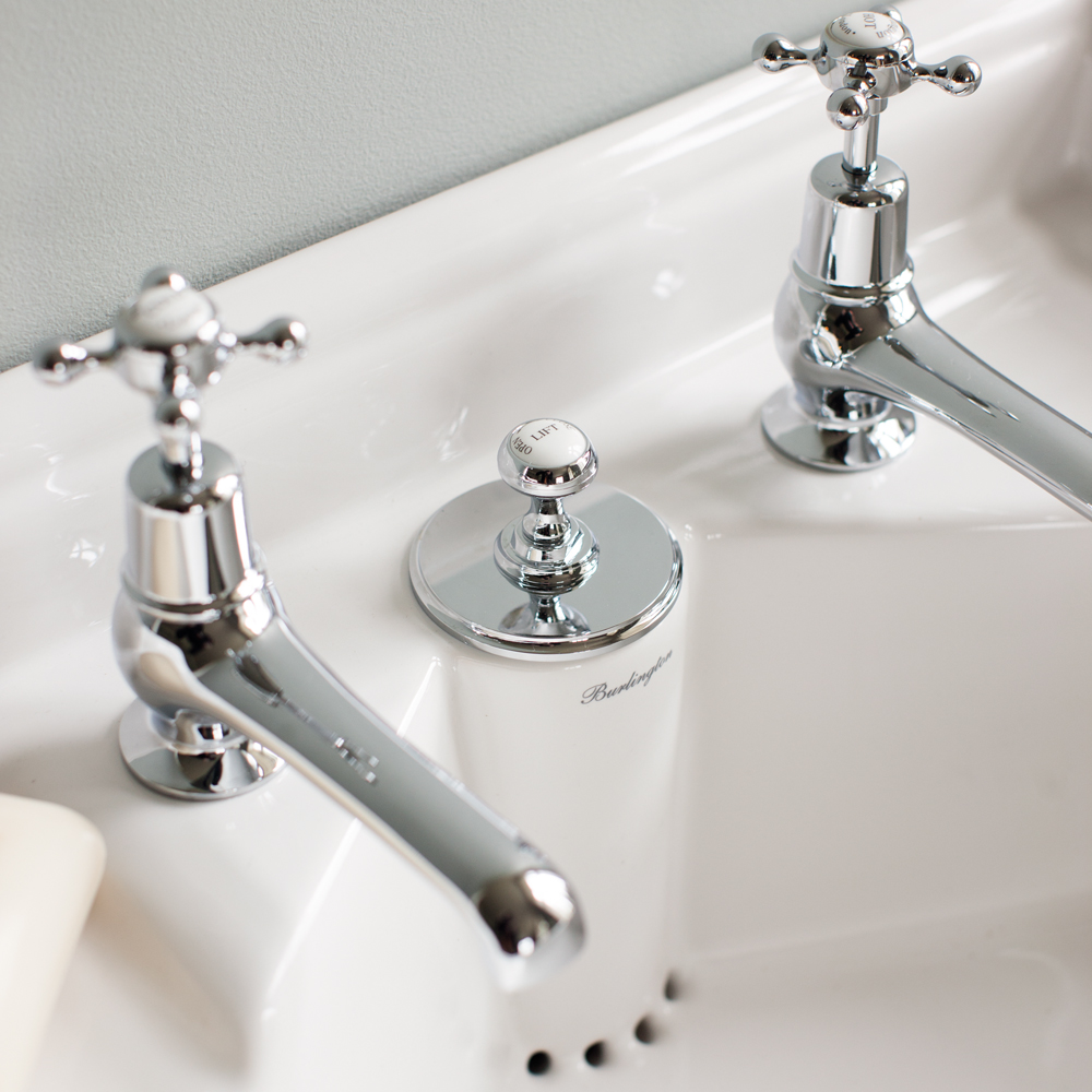 Burlington Classic 2TH Basin with Invisible Overflow/Waste and Chrome Wash Stand Feature Large Image