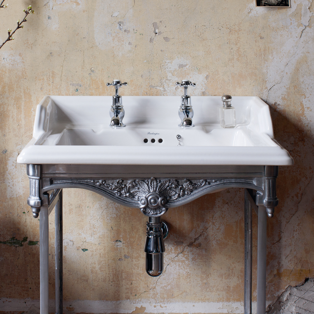 Burlington Classic 65cm Basin with Polished Aluminium Wash Stand - Various Tap Hole Options profile large image view 2