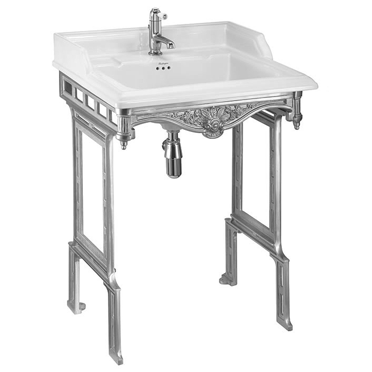 Burlington Classic 65cm Basin with Polished Aluminium Wash Stand - Various Tap Hole Options profile large image view 1