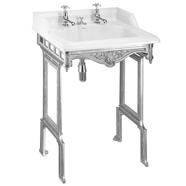 Burlington Classic 65cm Invisible Overflow Basin with Polished Aluminium Wash Stand