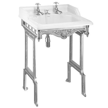 Burlington Classic 65cm Invisible Overflow Basin with Polished Aluminium Wash Stand
