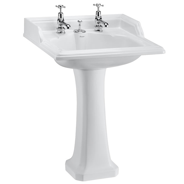 Burlington Classic Square 65cm Basin with Invisible Overflow/Waste & Pedestal Large Image