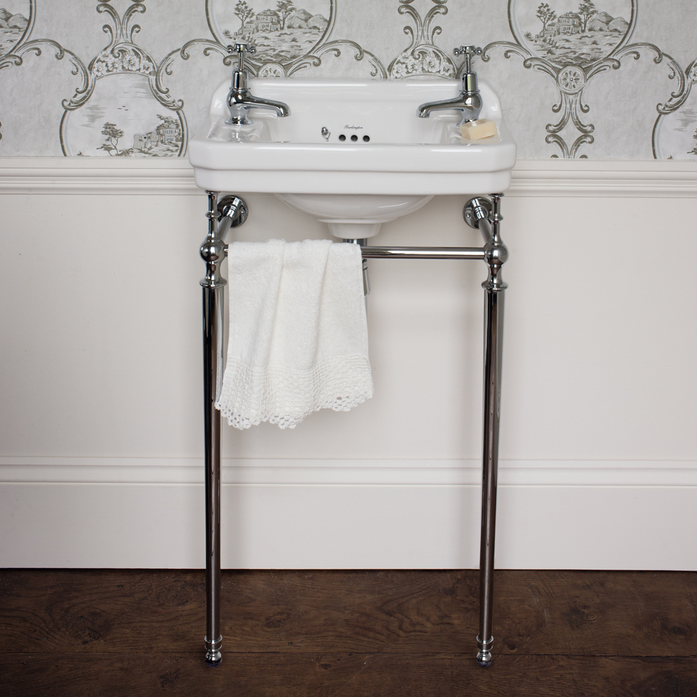 Burlington Cloakroom 2TH Edwardian Basin and Chrome Wash Stand profile large image view 2