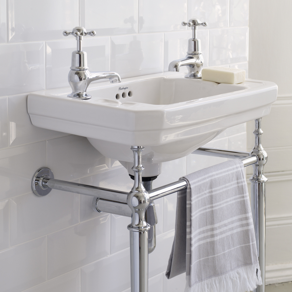 Burlington Cloakroom Victorian Basin and Chrome Wash Stand profile large image view 2