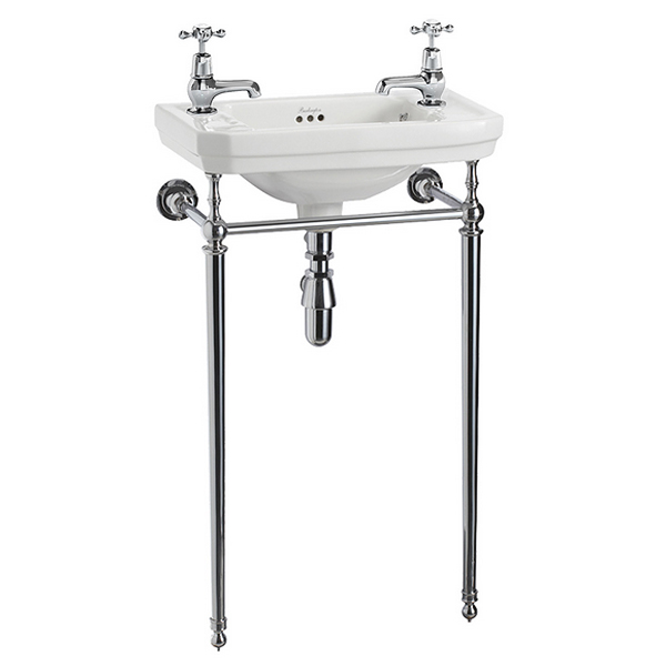 Burlington Cloakroom Victorian Basin and Chrome Wash Stand Large Image