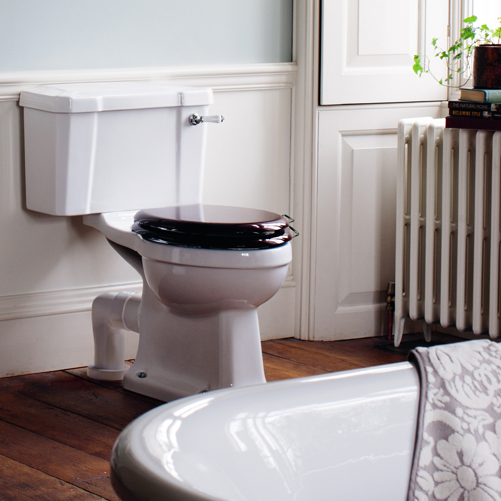 Burlington Close Coupled Traditional Toilet - Ceramic Lever Flush profile large image view 2