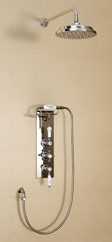 "Burlington Clyde Anglesey Valve w Cradle, Straight Arm, 9"" Rose & Shower Kit - Brass Backplate Large Image"