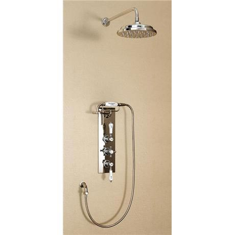 "Burlington Clyde Anglesey Valve w Cradle, Straight Arm, 9"" Rose & Shower Kit - Brass Backplate"