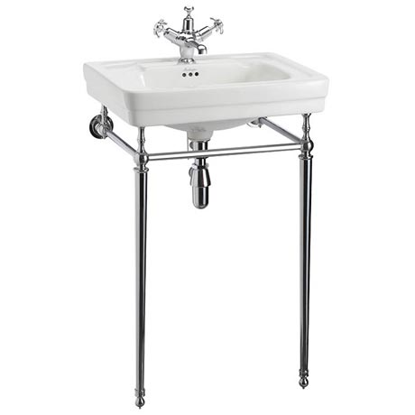 Burlington Contemporary Medium Basin and Chrome Wash Stand - Various Tap Hole Options