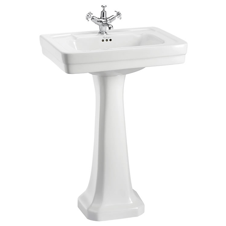 Burlington Contemporary Medium Basin and Pedestal - Various Tap Hole Options profile large image view 1