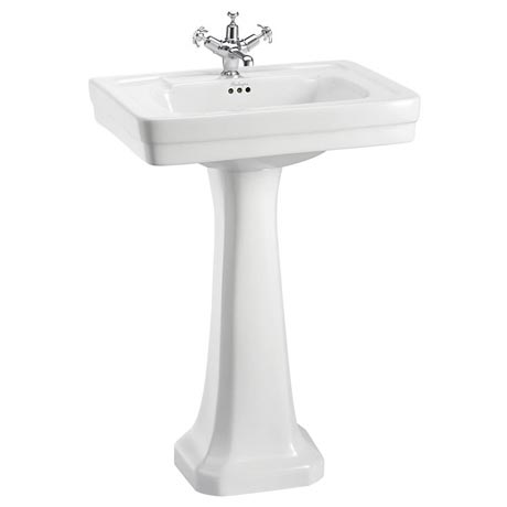 Burlington Contemporary Medium Basin and Pedestal - Various Tap Hole Options