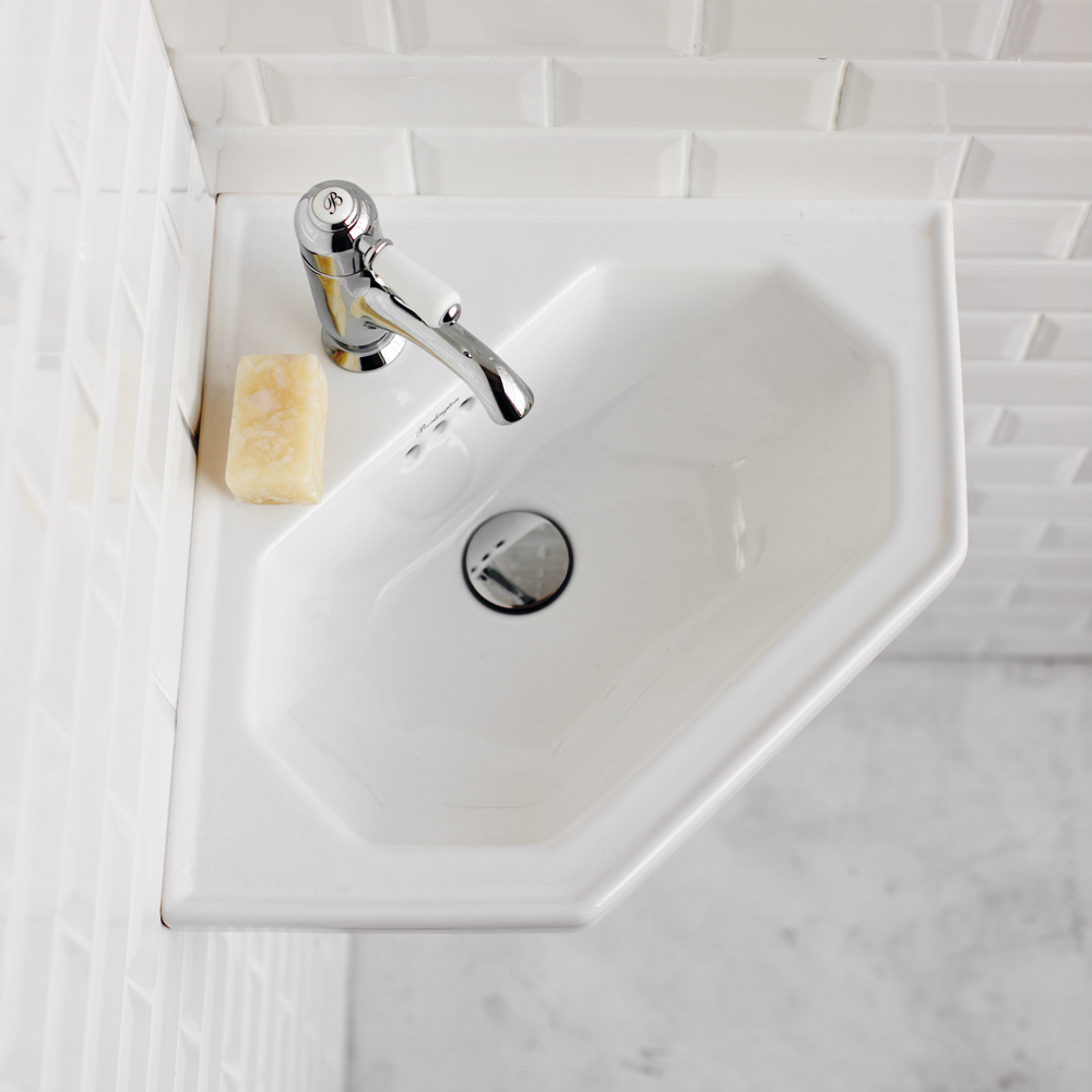 Burlington Corner Wall Mounted Cloakroom Basin - B10 profile large image view 2