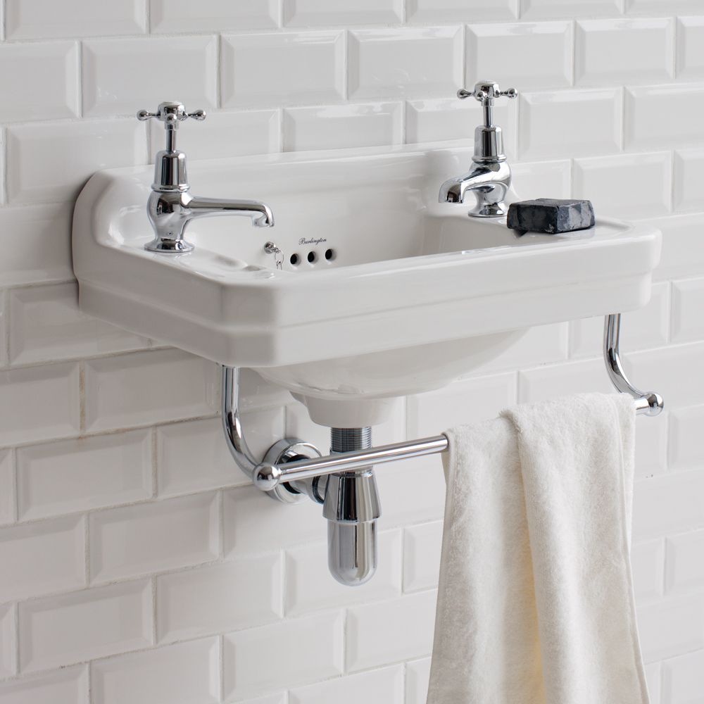 Burlington Edwardian 2TH Wall Mounted Cloakroom Basin - B8 Profile Large Image