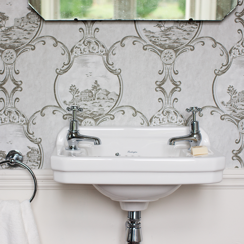 Burlington Edwardian 2TH Wall Mounted Cloakroom Basin - B8 Feature Large Image
