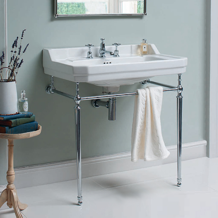Burlington Edwardian 80cm Basin and Chrome Wash Stand - Various Tap Hole Options profile large image view 2