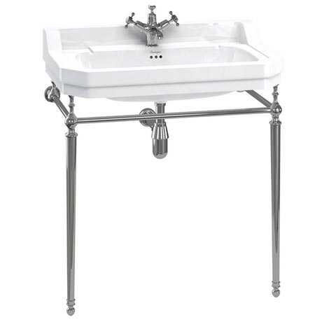 Burlington Edwardian 80cm Basin and Chrome Wash Stand - Various Tap Hole Options