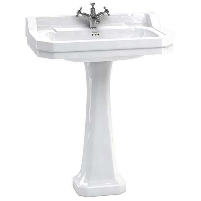Burlington Edwardian 80cm Basin and Pedestal - Various Tap Hole Options Large Image