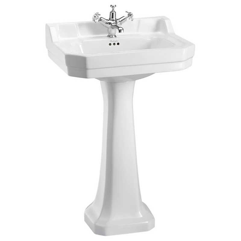 Burlington Edwardian Medium Basin and Pedestal - Various Tap Hole Options Large Image