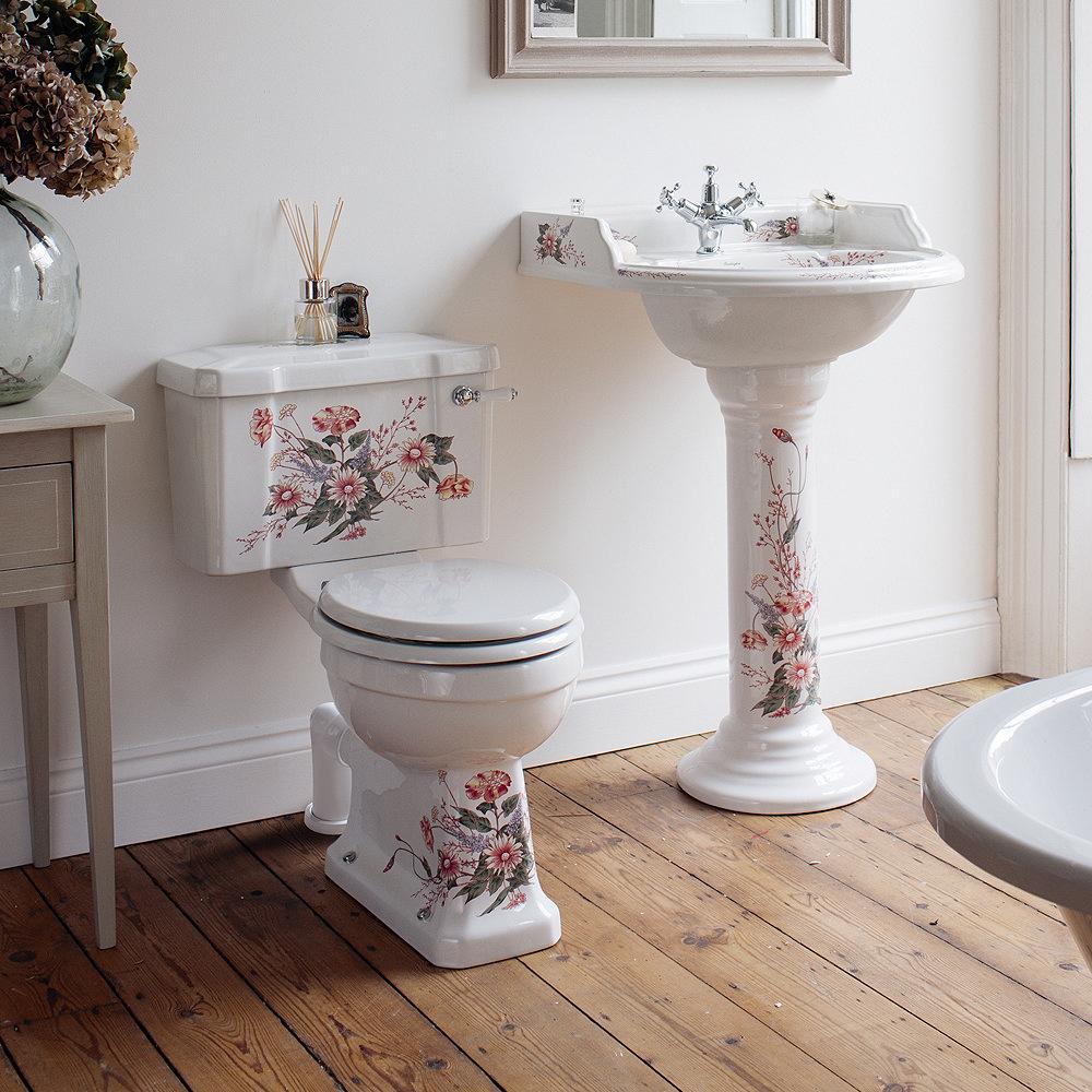Burlington English Garden Close Coupled Toilet - Ceramic Lever Flush Profile Large Image