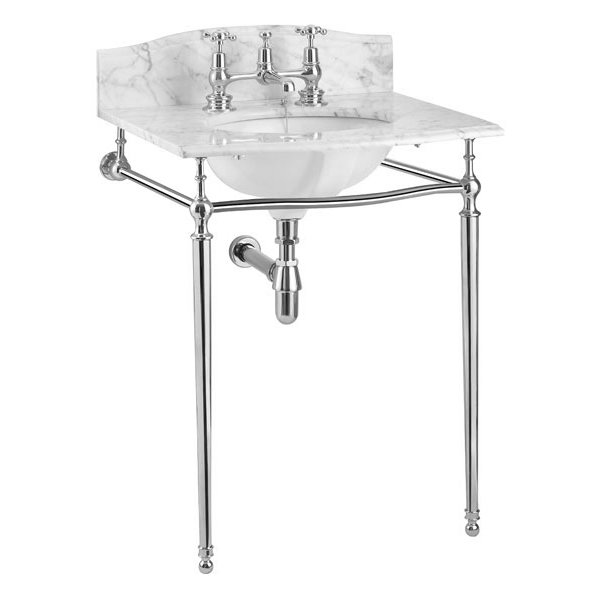 Burlington Georgian Carrara Marble Basin with Chrome Wash Stand Profile Large Image