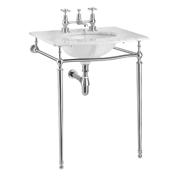 Burlington Georgian Carrara Marble Basin with Chrome Wash Stand Feature Large Image