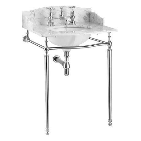 Burlington Georgian Carrara Marble Basin with Chrome Wash Stand