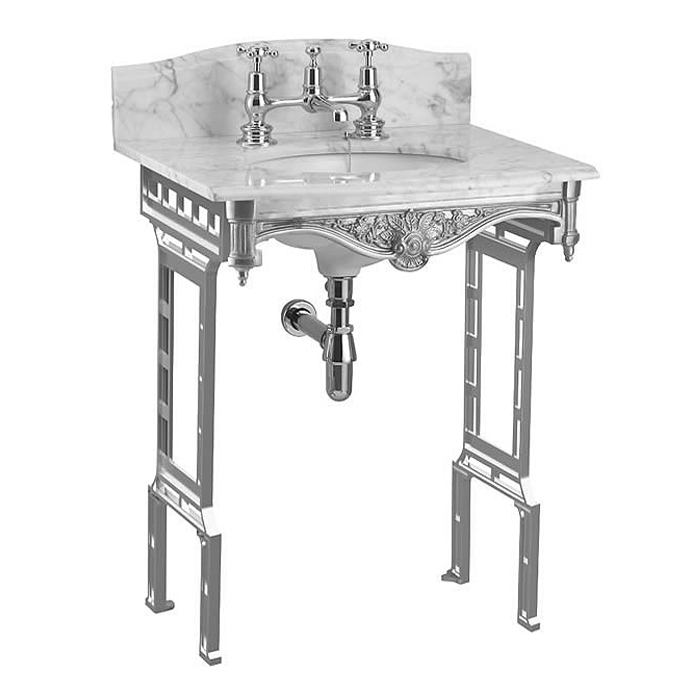Burlington Georgian Carrera Marble Basin with Polished Aluminium Wash Stand profile large image view 2