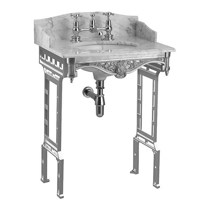 Burlington Georgian Carrera Marble Basin with Polished Aluminium Wash Stand Large Image