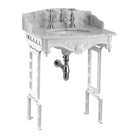 Burlington Georgian Carrera Marble Basin with White Aluminium Wash Stand