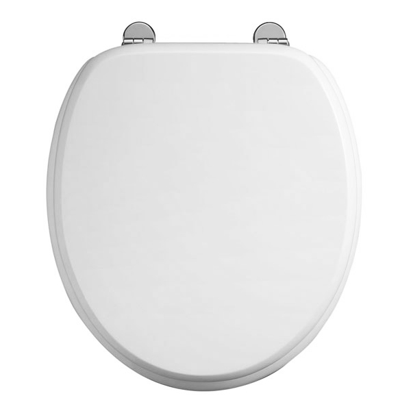 Burlington Bar Hinged Gloss White Toilet Seat - S13 Large Image