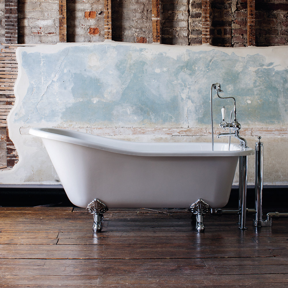 Burlington Harewood Slipper 1700mm Freestanding Bath with Legs profile large image view 1
