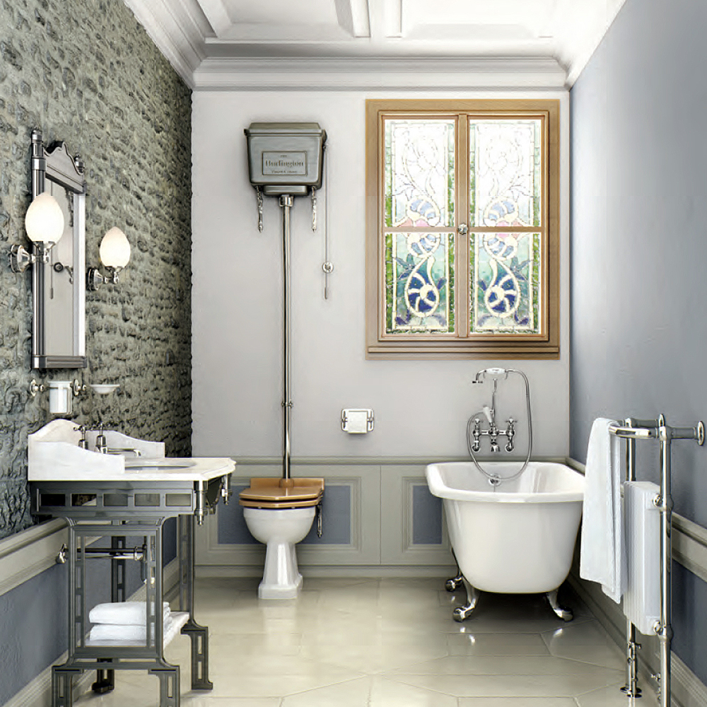 Burlington High Level Toilet - Polished Aluminium Cistern ...