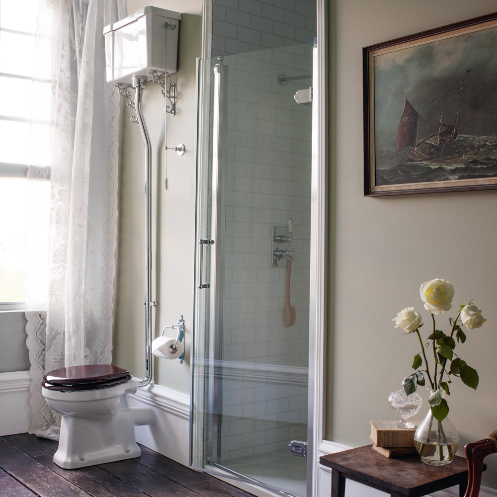 Burlington High Level Toilet - White Ceramic Cistern Profile Large Image