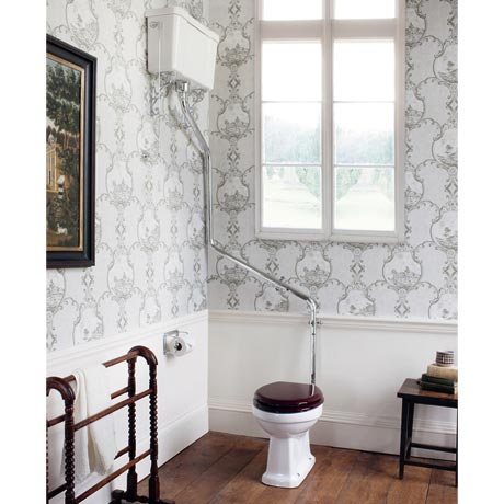 Burlington High Level WC White Ceramic with Angled Extension Pipes
