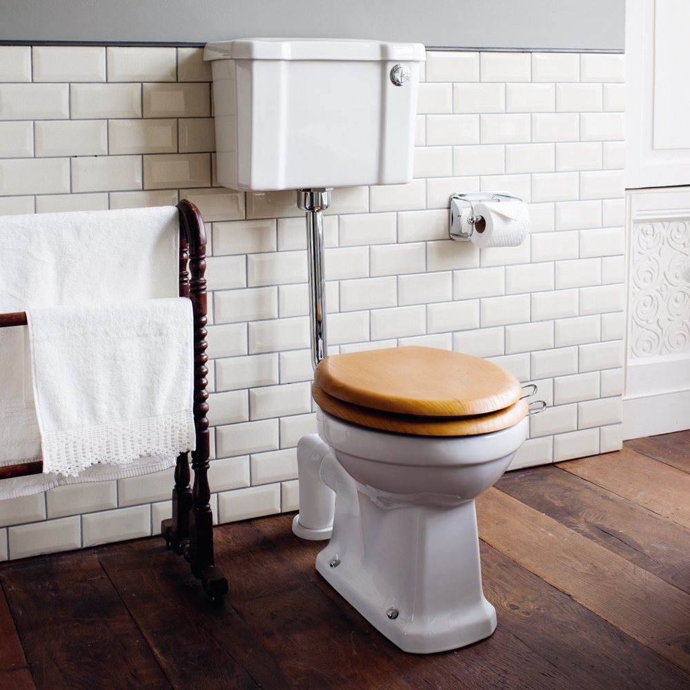 Burlington Low Level WC - 44cm Slimline Cistern - Button Flush Profile Large Image